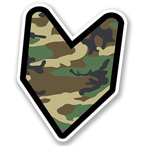 2 x 10cm Wakaba Leaf Military Camo Vinyl Stickers