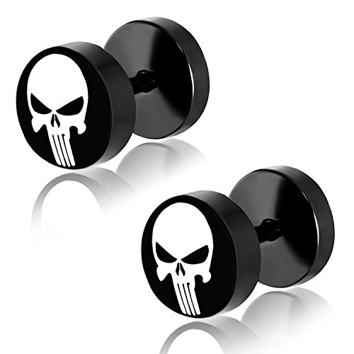 Comfort Zone Studios 8 MM (0g) Black Stainless Steel Two-Tone Punisher Skull Faux Fake Cheater Ear Plugs Gauge, Pair