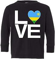 Tenacitee Toddler's Love Block Rwanda Heart Long Sleeve T-S