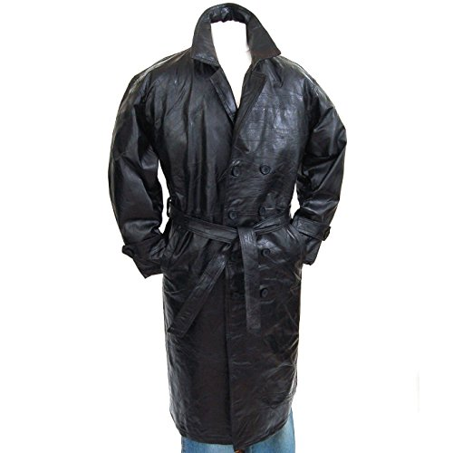 Mens Genuine Leather Double Breasted Trench Coat Full Length Blazer Black Small (Mens Floor Length Coat)