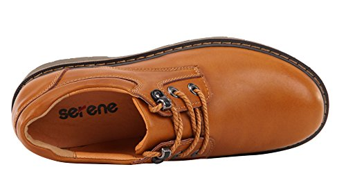 Serene Heren Cashion Ronde Neus Lace-up Lederen Enkellaarzen Oxfords Outdoor Schoenen (9 B (m) Us, Golden-2)