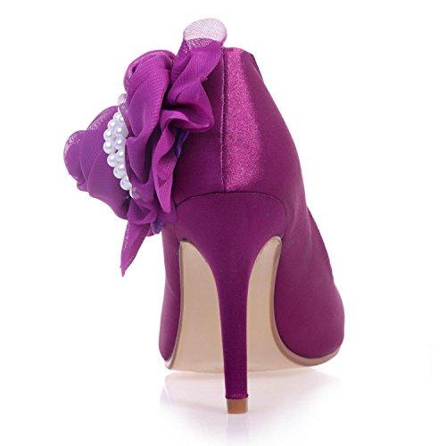 Elegant high shoes5623-11 Damen Hochzeit Schuhe/Bequeme Satin/Nahen Zehe/Nacht Party & Casual High Heels/Multi-Farben Blue