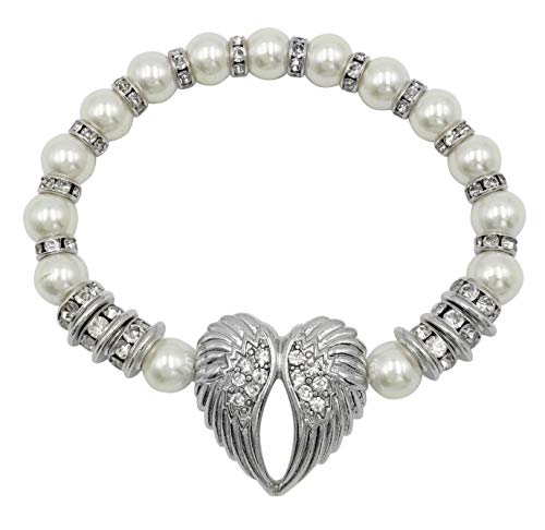 - Glass Beaded and Rhinestone Silver Tone Theme Stretch Bracelet (Angel Wing Heart Imitation Pearl)