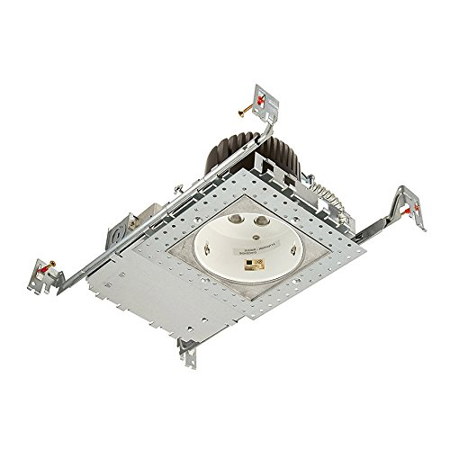 WAC Lighting HR-LED418-N-SQ30 4in LEDme Non-IC Rated New Construction Housing Engine for Square Invisible Trim in 3000K, Aluminum