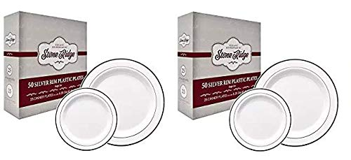 (50 Classy Disposable Plastic Plates, 25 Pieces of 10.25 Inch and 25 Pieces of 7.5 Inch White Plates, Silver Trim)