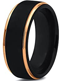 Tungsten Wedding Band Ring 8mm for Men Women Black Rose Yellow Gold Plated Step Edge Brushed Polished