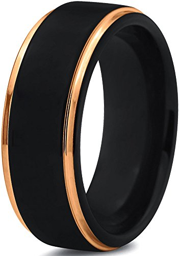 (Midnight Rose Collection Tungsten Wedding Band Ring 8mm for Men Women Black & 18K Yellow Gold Plated Stepped Edge Polished)