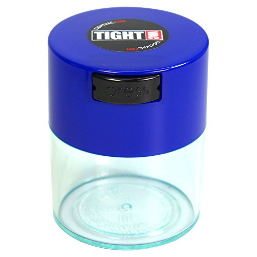 Tightvac-12-oz-to-3-ounce-Airtight-Multi-Use-Vacuum-Seal-Portable-Storage-Container-for-Dry-Goods-Food-and-Herbs-Dark-Blue-Cap-Clear-Body
