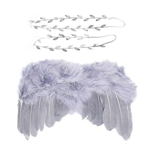 Chiffon Angel Wings - Wolken Newborn Baby Angel Feather Wing with Leaves Halo Headband Set Photo Props Outfit Costume