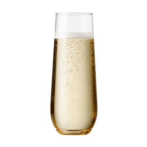 TOSSWARE 9oz Flute - recyclable champagne plastic cup - SET OF 12 - stemless, shatterproof and BPA-free flute glasses (Champagne Stemless Flutes)