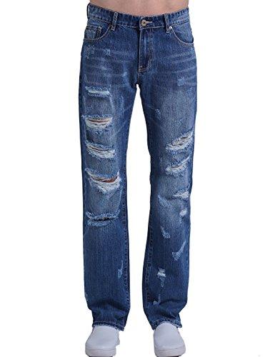 SSLR Jeans Denim Destruido y Ajustado Estándar para Hombre Azul
