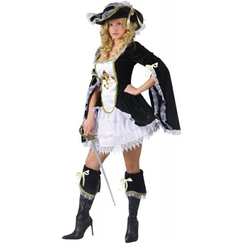 [FunWorld Midnight Musketeer, Black, 2-8 Small Costume] (Adult Musketeer Costumes)