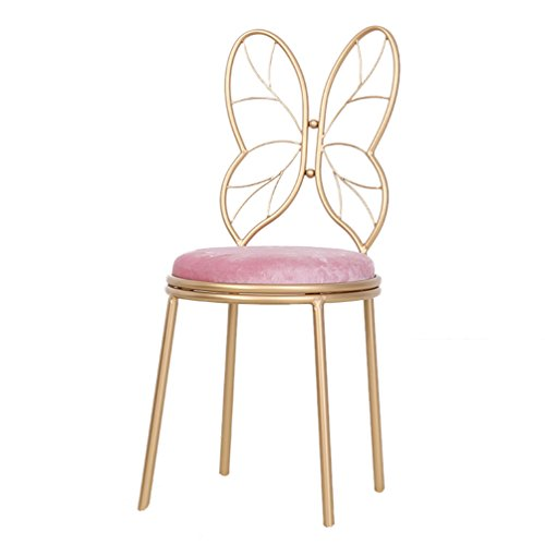 BDLYZ Yxsd Wrought iron bow chair, home golden wrought iron stool Cafe restaurant room decoration chair practice chair, height 85 / 115cm,Durable (Color : Pink, Size : (Wrought Iron Cafe)