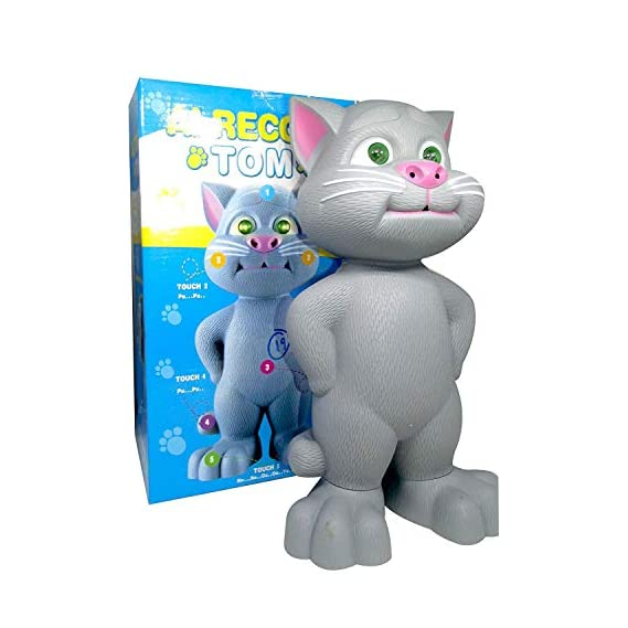 Appigo Talking Tom Cat with Recording, Music, Story and Touch Functionality, Voice, Stories and Songs Toy for Kids