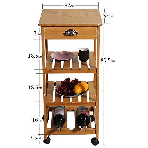 Kitchen Bamboo Multi-Layer Rack, Corner Frame with Wheel Removable Trolley, Seasoning Storage Rack, with Drawer Mesa by Kitchen Cart (Image #1)