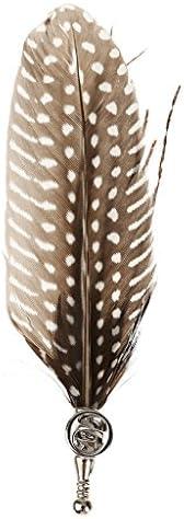 ユニセックス 2個 スリム カクテル ヒョウ柄 ネクタイ フェザー ブローチ ブローチピン セット