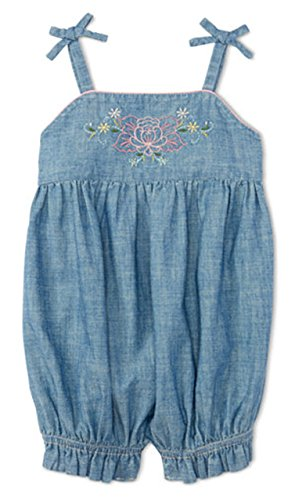 Embroidered Shortalls (Ralph Lauren Baby Girls Embroidered Chambray Shortall (9 Months))