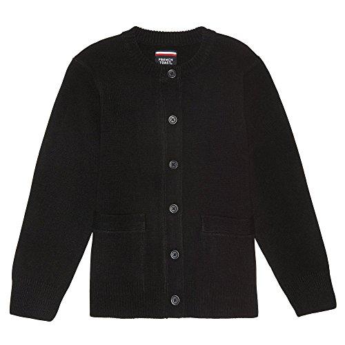 French Rib Sweater - French Toast Little Girls' Anti-pill Crewneck Cardigan, Black, 5