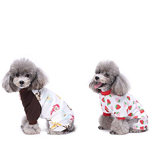 HongYH 2-pack Dogs Cats Dog Pajamas Puppy Rompers Bodysuits for Small Dogs and Cats