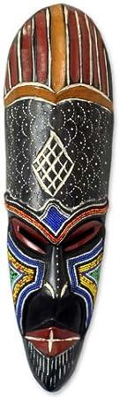 Novica Handcrafted Nigerian Beaded African Rubberwood Wall Mask God S Bounty Home Kitchen Amazon Com