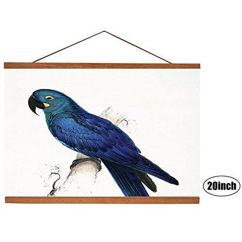 Magnetic Wood Frame DIY Poster Scroll Artwork Print Holder Canvas Quilt Wooden Hanging for Home Decor Wall Art (Teak Wood, - Scroll Hanger