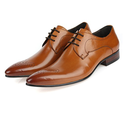GRRONG Zapatos De Cuero De Los Hombres De Cuero Genuino Acentuadas Vestido Formal Del Banquete Negro Brown