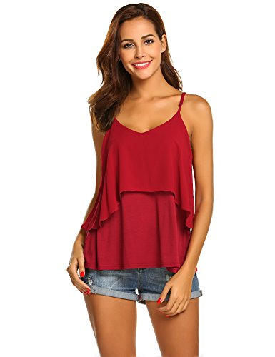 Wildtrest Women's Sleeveless Chiffon Blouse Adjustable Spaghetti Strap Layered Tank Tops Wine Red XXL