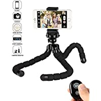 kungfuren iPhone Tripod Phone Tripod for iPhone Stand with Bluetooth Remote Camera Shutter Remote Shutter Release for Android iOS Smartphones Ipad Tablets Digital Camera Sports Camera Gopro etc