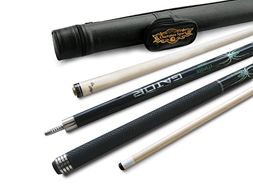 Champion Spider Black Billiards Maple Pool Cue Stick 19 oz, Black Pool Cue Case, Champion Glove
