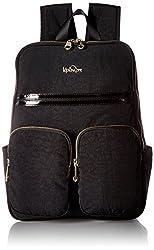 Kipling Sandra Black Patent Combo Laptop Backpack Blkpntcmbo