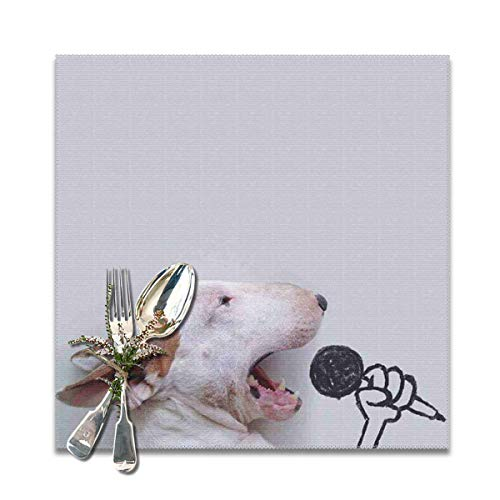 Placemats Square Set of 6 for Dining Room Kitchen Table Decor, Bull Terrier Sing Songs Print Table Mats Washable]()