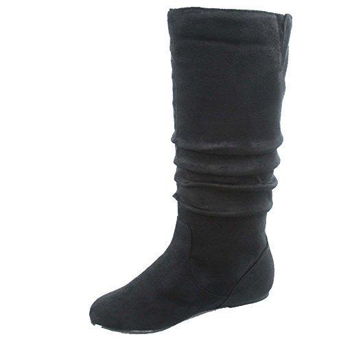 Top Moda Data-1 Women's Shoes Cute & Comfort Round Toe Flat Heel Slouchy Mid Calf Boot (7, Black)