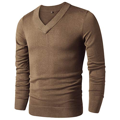 (LTIFONE Mens Casual Slim Comfortably Knitted Long Sleeve V-Neck Pullover Sweaters (Brown,S) )