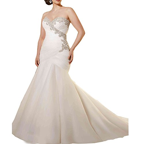 AbaoWedding Women's Lace Strapless Ruched Mermaid Long Wedding Dress Size 16 by ABaowedding