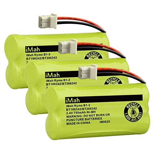 iMah Ryme B1-2 BT166342 BT266342 BT183342 BT283342 Cordless Phone Batteries Compatible with Vtech CS6114 CS6429 CS6719-2 ATT EL5210 EL51203 Handset Telephone, Pack of 3