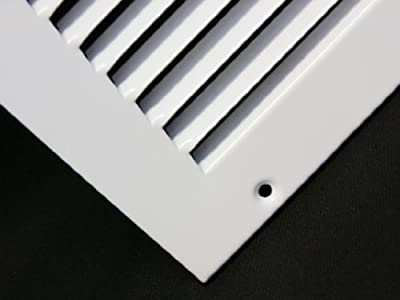 """30""""w X 6""""h Steel Return Air Grilles - Sidewall and Ceiling - HVAC DUCT COVER - White [Outer Dimensions: 31.75""""w X 7.75""""h]"""