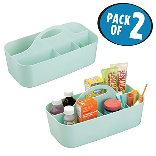 mDesign Nursery Caddy Tote for Shampoo, Soap, Medicine, Washcloths - Pack of 2, Medium, Mint (Fillings Various Mint)