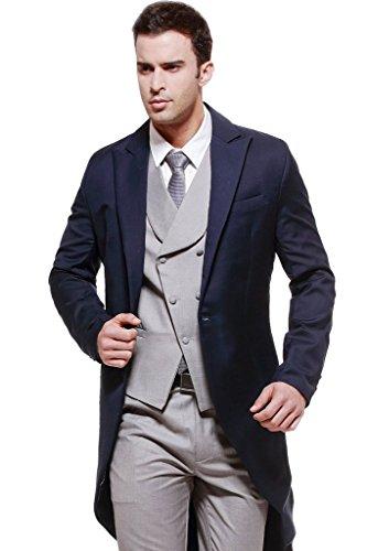 Mys da uomo personalizzato in blu lunga coda Forcuta cappotto grigio con gilet e pantaloni set