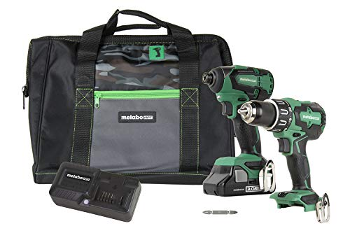 Metabo HPT KC18DBFL2S 18V Cordless Brushless Hammer Drill and Impact Driver Combo Kit, 1 - Compact 3.0Ah Lithium Ion Battery, Variable Speed Trigger, Belt Hook, LED Light, Lifetime Tool Warranty
