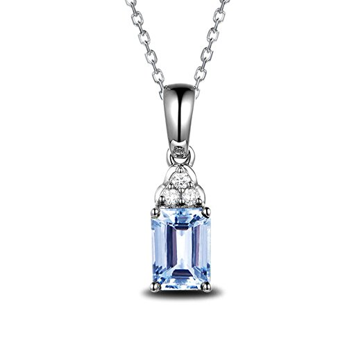 1ct Natural Emerald Cut Aquamarine 14k White Gold Diamond Pendant 925 Sterling Silver Necklace Chain by MYRAYGEM-Pendant