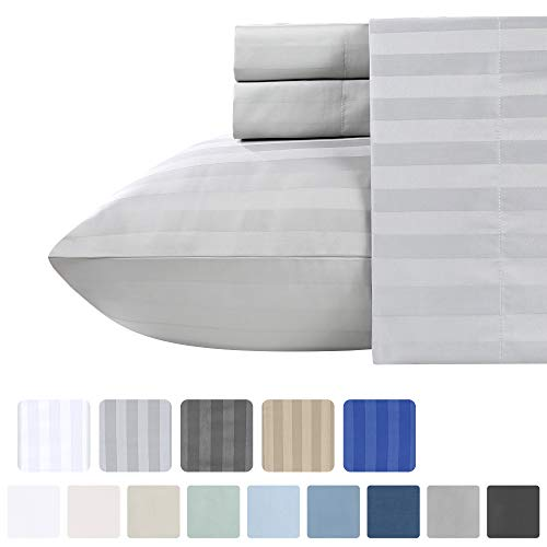 500 Thread Count Queen Sheet Sets - (4pc, Light Grey) - Long Staple Cotton With Woven Damask Stripe - Premium Quality and Deep Pocket Satin Bedsheets, Fits Upto Mattress 18'' Deep Pocket from California Design Den