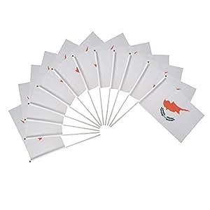 Juego de 12 banderas de poliéster para exterior de escritorio, con ojales de mano de 30,5 x 45,7 cm