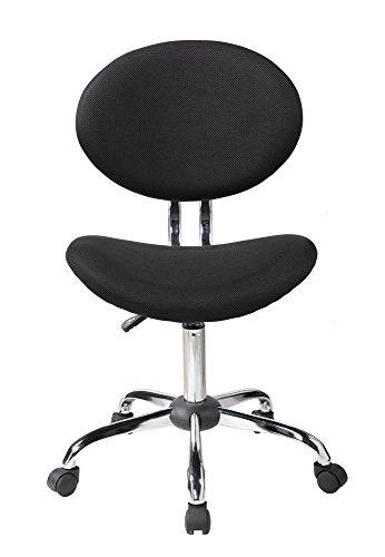 EuroStile Mid-Back Mesh Task Chair Office Desk -1011BK - Oval Hardwood Base