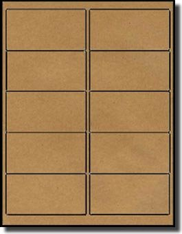1,000 Labels Outfitters 4 x 2 inch Brown Kraft Self Adhesive Labels, 100 Sheets with 10 Labels per Sheet