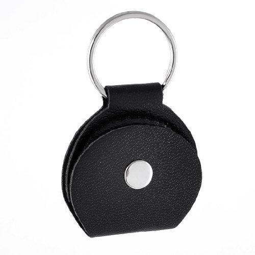 eDealMax simili cuir noir cuir Appuyez sur le bouton Stud Mdiator guitare Porte-sac porte-cls