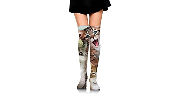 Best For Pregnancy And Travel 2 Pairs Womens Knee High Socks Camouflage Animal Cat Long Socks For Women