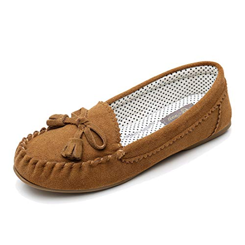 Real Fancy Moccasin Slippers for Women Flat Casual Comfortable Loafer Shoes Womens Moccasin Slippers Spring Driving Moccasins Shoes (7 B(M) US, Tan) ()