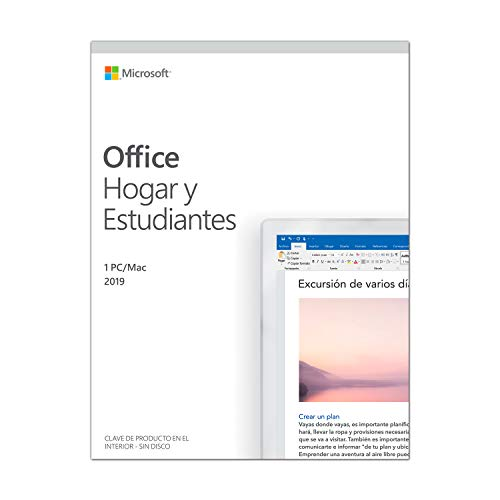 Microsoft Office Hogar y Estudiantes – Software para PC o Mac, para 1 PC/MAC, Version 2019