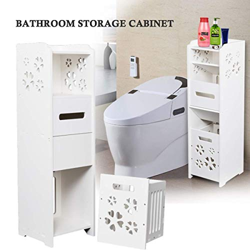 - Bathroom Storage Cabinet,Floor Standing Corner Shelf with Drawer and Single Shutter Door Garbage Can Wall Shutter Door Narrow Organizer Cupboard Shelf Toilet (3 Tier-White)