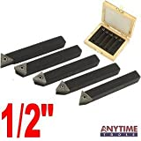 "Anytime Tools 5 Piece 1/2"" MINI LATHE INDEXABLE CARBIDE INSERT TOOL BIT SET"